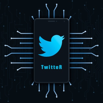 Twitter logo icon on phone screen on technology background 3d
