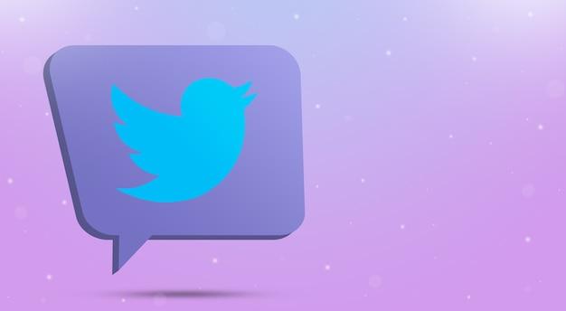 Twitter logo icon on speech bubble 3d