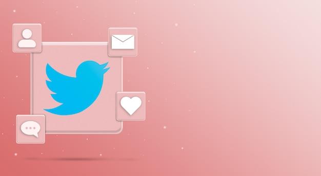 Значок логотипа twitter с активностью 3 в социальных сетях