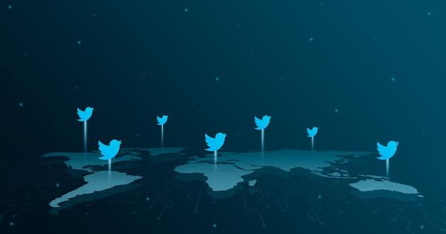 세계지도 3d의 모든 대륙에 대한 트위터 로고 아이콘