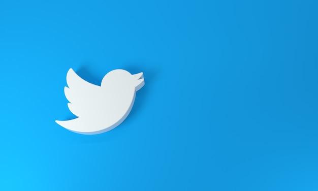 파란색 배경에 twitter 로고 - 상위 뷰. 3d 렌더링.
