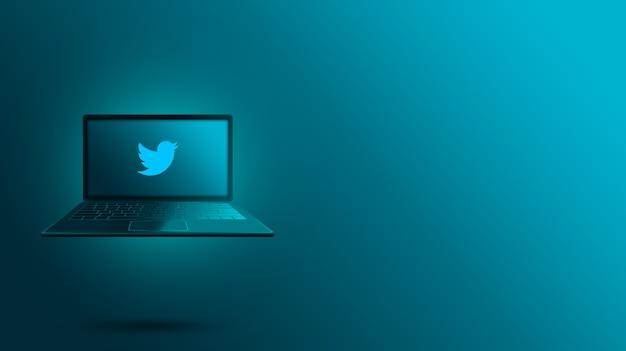 ノートパソコンの画面上のtwitterロゴ
