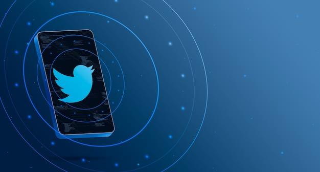 Логотип twitter на телефоне с технологическим дисплеем, умный 3d-рендеринг