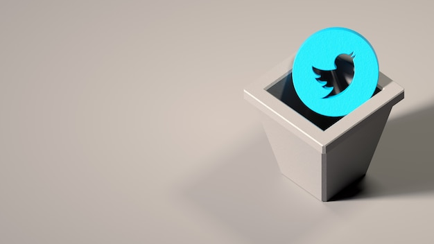 Twitter  logo on trashcan. symbol of closing/deleting social account
