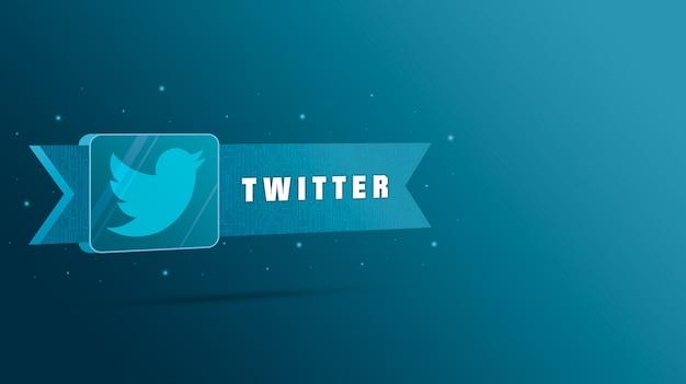 Логотип twitter с надписью на технологической табличке 3d