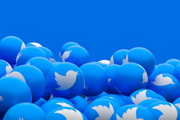 Twitter social media emoji 3d render background, social media balloon symbol