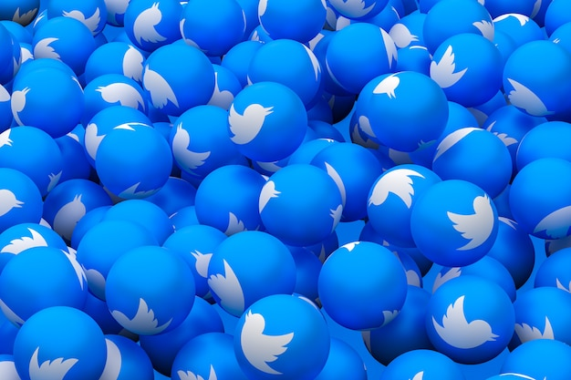 Twitterソーシャルメディアの絵文字3 dレンダリングの背景、ソーシャルメディアのバルーンシンボル