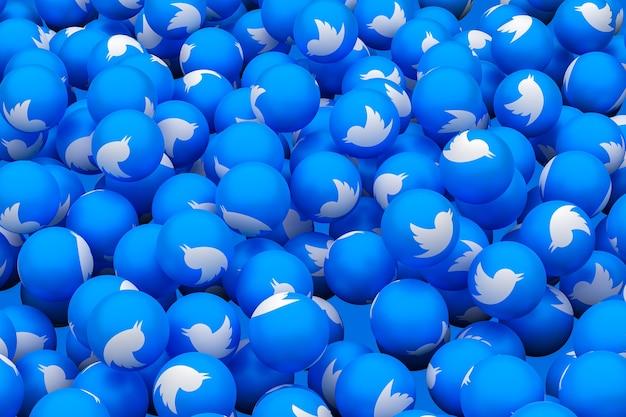Twitterソーシャルメディア絵文字3dレンダリングの背景、ソーシャルメディアバルーンシンボル