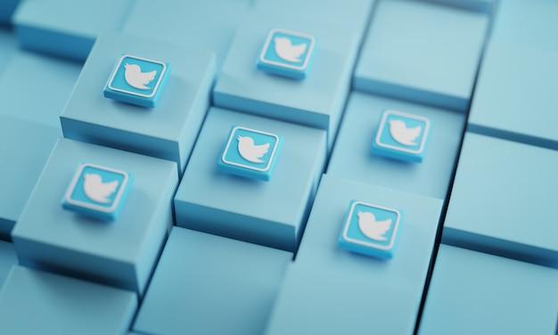 青いキューブ上の多くのtwitterロゴ