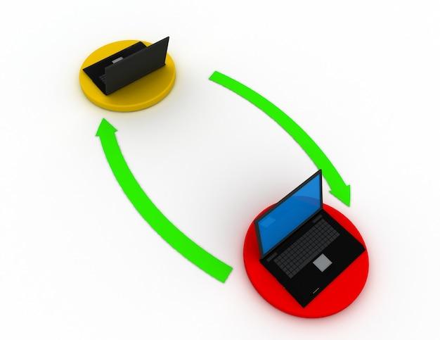 Два 3d ноутбука на земле соединены стрелками