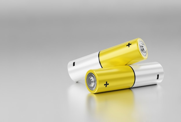 Две желтые батарейки размера aa на металлическом фоне. 3d визуализация.
