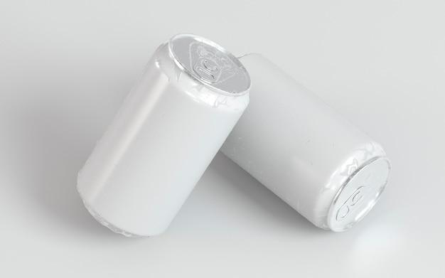 Презентация двух абстрактных алюминиевых контейнеров для напитков