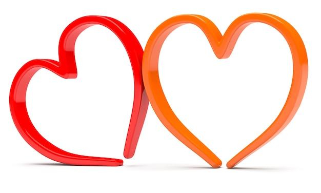 Две абстрактные формы сердца, изолированные на белом фоне
