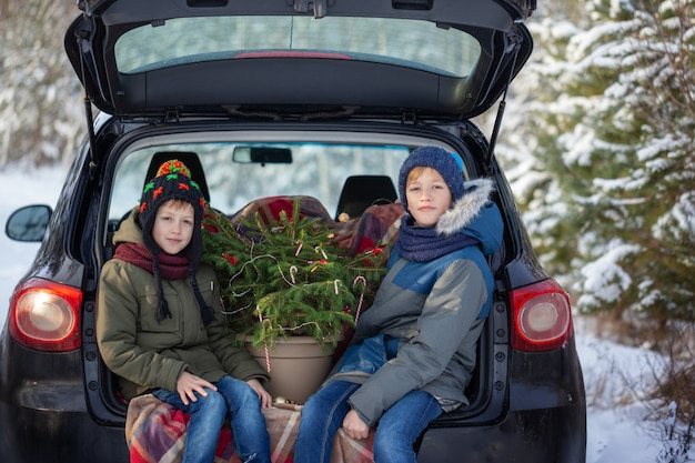 Two adorable brothers sitting in car at snowly winter forest. concept holiday vacation.