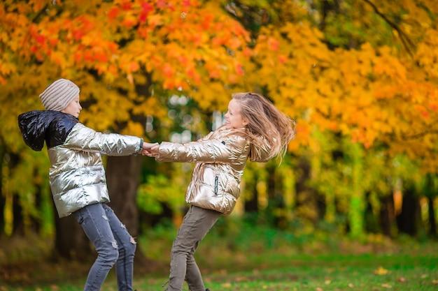 暖かい晴れた秋の日に森で楽しんでいる二人の愛らしい少女