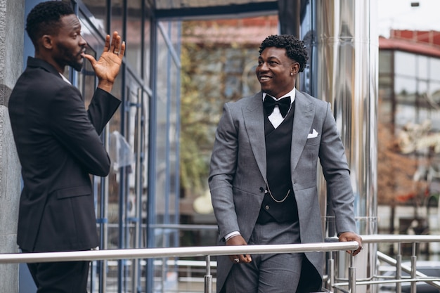 Two african businessman   meeting together