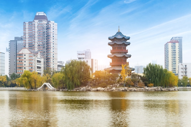 Two ancient pagodas are in the temple, taiyuan, shanxi province, china