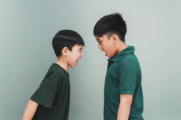 Two angry siblings looking each other and shouting each other on grey background