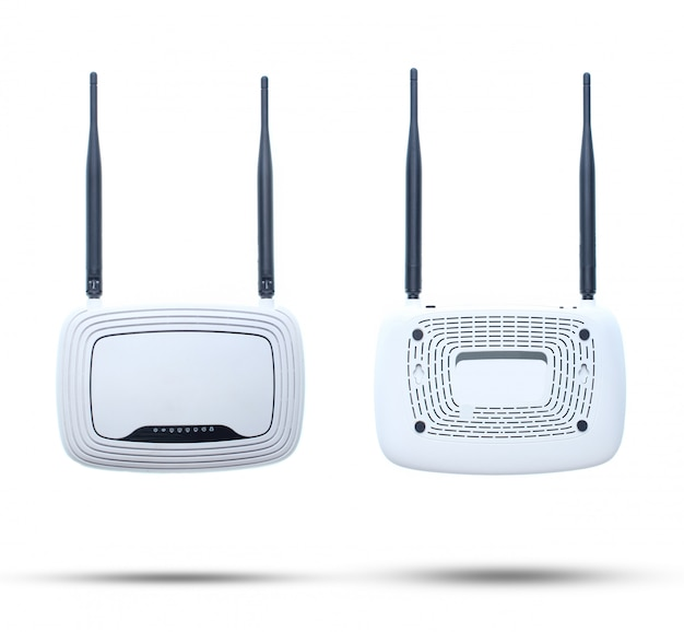 Two-antenna wi fi router isolated on white.