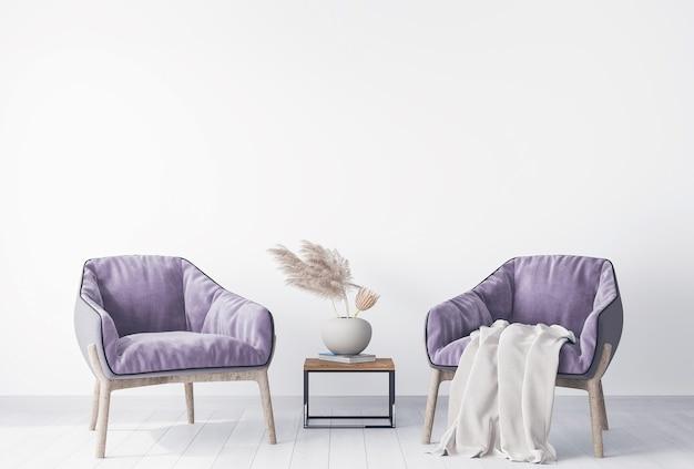 ススキのホームアクセサリーとモダンなリビングルームのデザインの2つのアームチェア