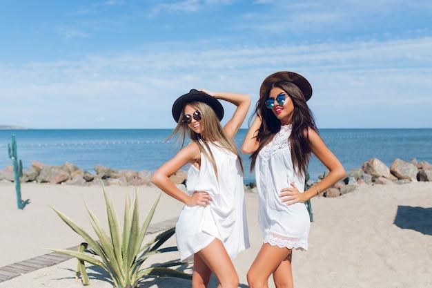 Due attraenti ragazze castane e bionde con i capelli lunghi sono seduti sulla spiaggia vicino al mare. stanno proponendo alla telecamera.