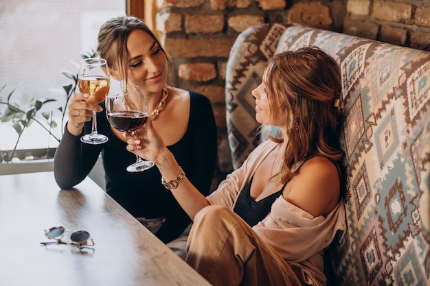 Two attractive girls sitting in a cafe and drinking wine