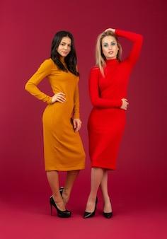Две привлекательные стильные женщины в желтом и красном вязаном платье осенне-зимней моды позируют изолированно на красной стене