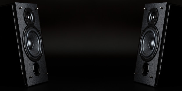 Two audio speakers with free space between them