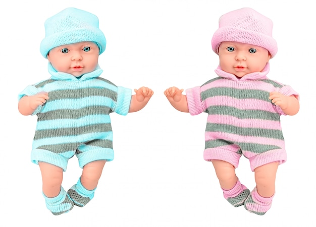 Two baby doll girl and boy in knitted dress on isolated