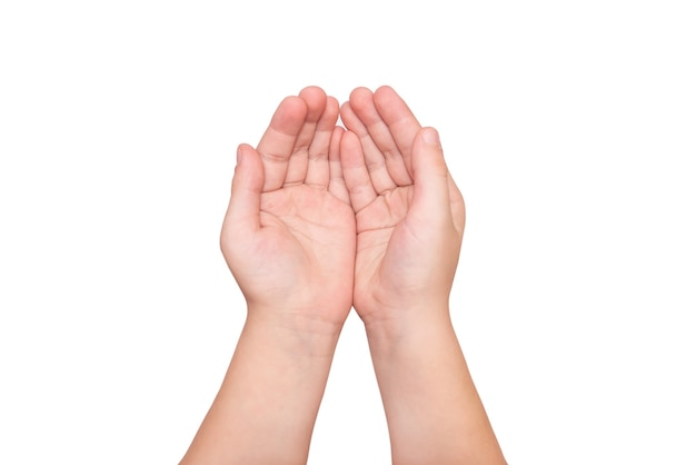白い背景で一緒に分離された2つの赤ちゃんの手のひら