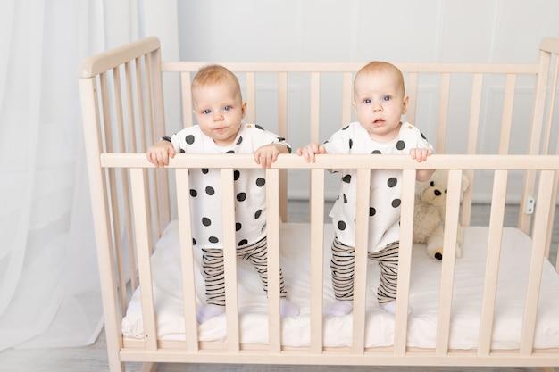 8か月の2人の双子の赤ちゃんの兄弟姉妹は、ベビーベッドでパジャマに座って、カメラ、上面図、友情の概念、テキストの場所を見ます。