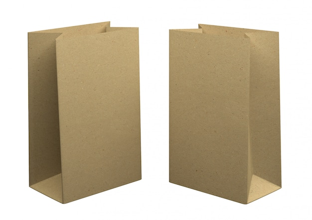 Two bags of recycled kraft paper, isolated on white background