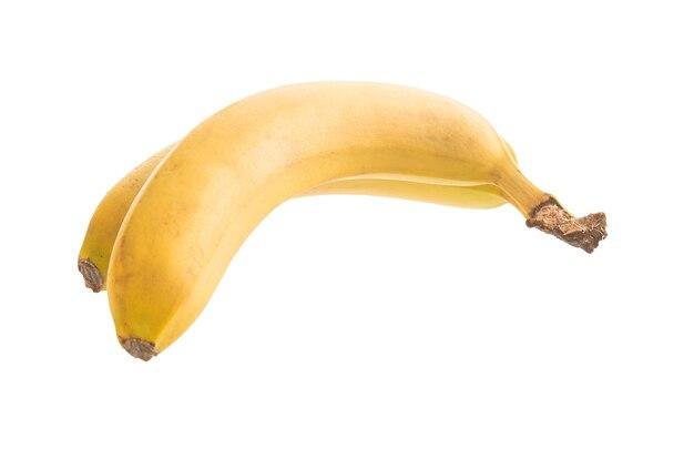 分離された白の2つのバナナ