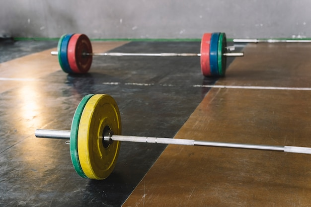 Two barbells in gym