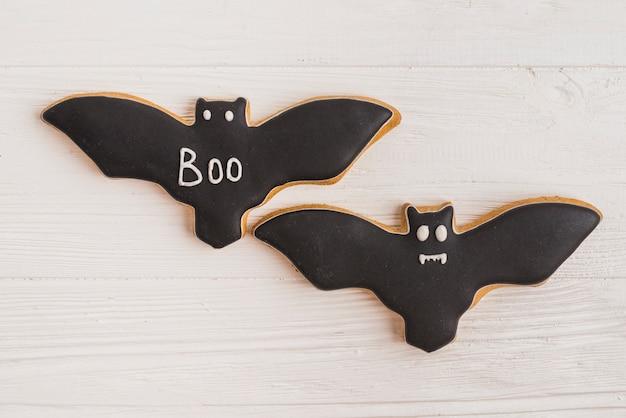 Two bat halloween cookies
