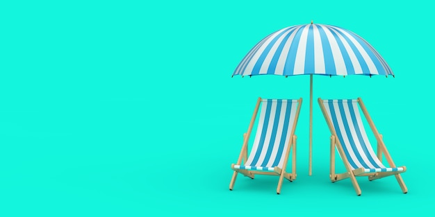 Two beach relax pool chairs under sunshade on a blue background. 3d rendering
