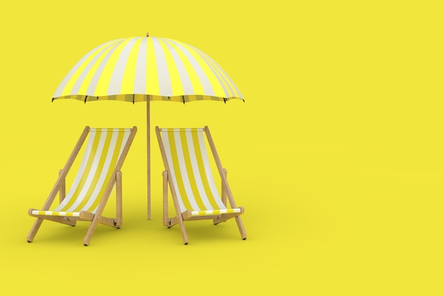 두 개의 해변은 노란색 배경에 있는 양산 아래 수영장 의자를 이완합니다. 3d 렌더링