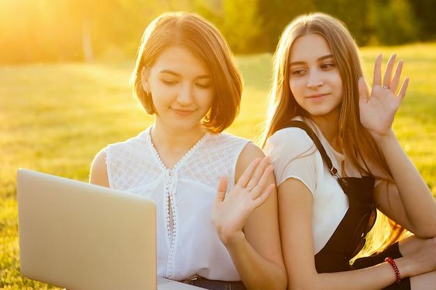 公園でラップトップを持って芝生に座っている2人のbeautifu最高のガールフレンドブロガー女子学生。