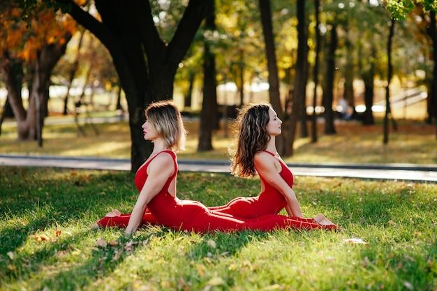 Две красивые взрослые женщины занимаются спортом, сидя на циновках в летнем парке