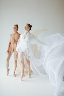Two beautiful ballerinas are posing at camera in studio