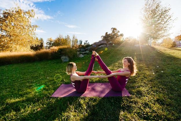 Две красивые брюнетки женщины носят тесную активную одежду, выполняя позы йоги в парке на фиолетовые коврики с мягкими вспышками солнца сквозь деревья