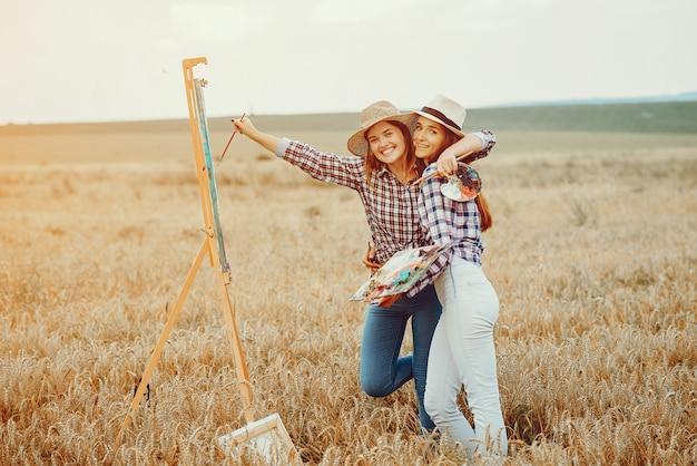 フィールドに描く二人の美しい女の子