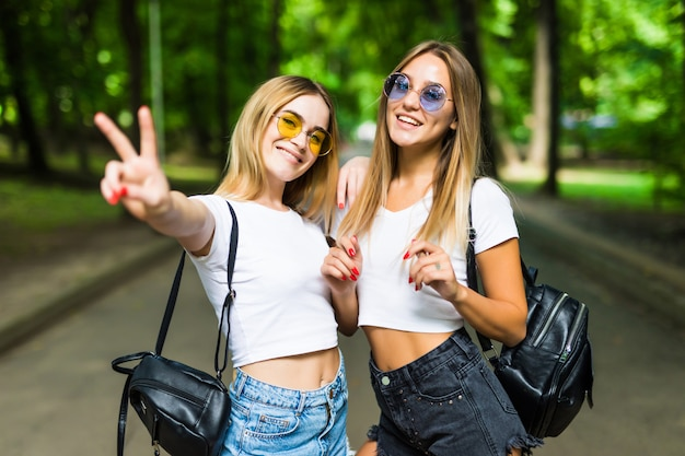Two beautiful girls walking in the summer park end talking. friends wearing stylish shirt and jeans shorts, sunglasses, enjoying day off and have fun.