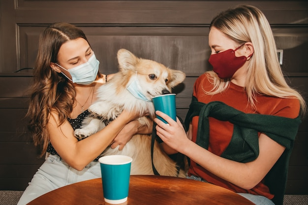 Two beautiful girls with masks spend time with a corgi dog