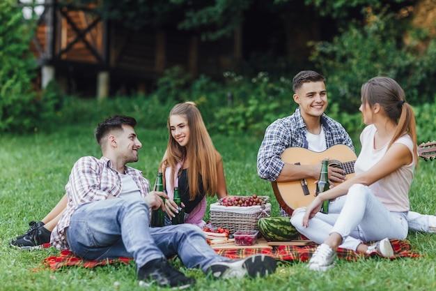 Две красивые девушки с двумя парнями сидят в парке на одеяле с гитарой