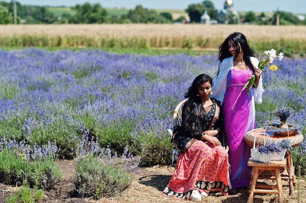 2つの美しいインドの女の子は紫色のラベンダー畑でサリーインドの伝統的なドレスを着ています。
