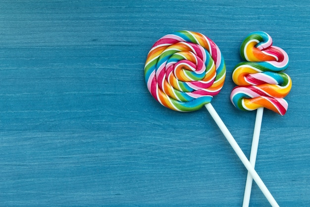 Two beautiful lollipops with many colors