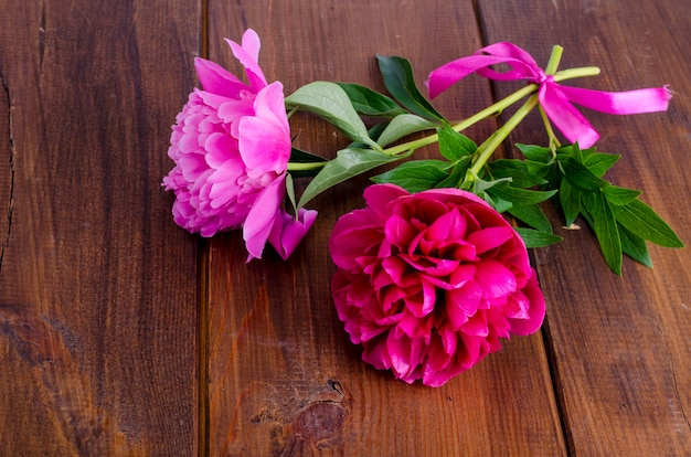 Two beautiful peonies with ribbon on wooden table