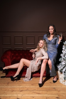 Due belle donne che celebrano il natale insieme al vestito di moda. natale a casa