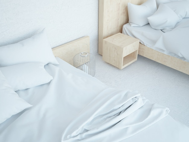 Две кровати в спальне мансарды